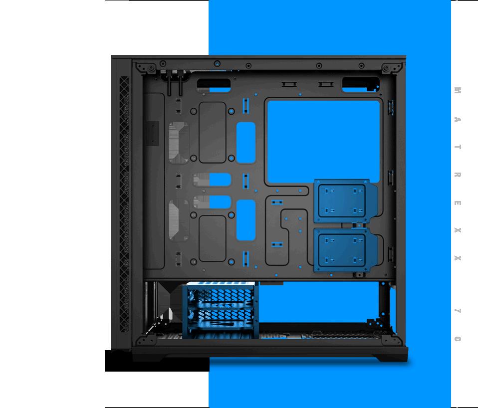 Trường hợp MATREXX 70 quay mặt sang trái với tất cả các bảng được gỡ bỏ