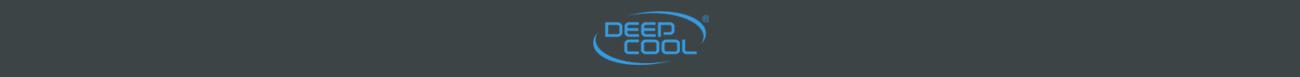 Logo deepcool màu xanh trên nền màu xám đen