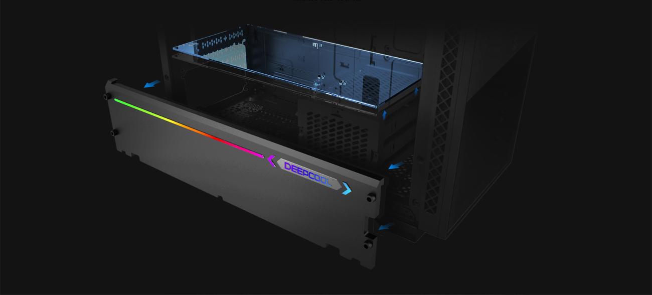 Phần dưới của MATREXX 70 3F hiển thị tấm vải liệm PSU thủy tinh