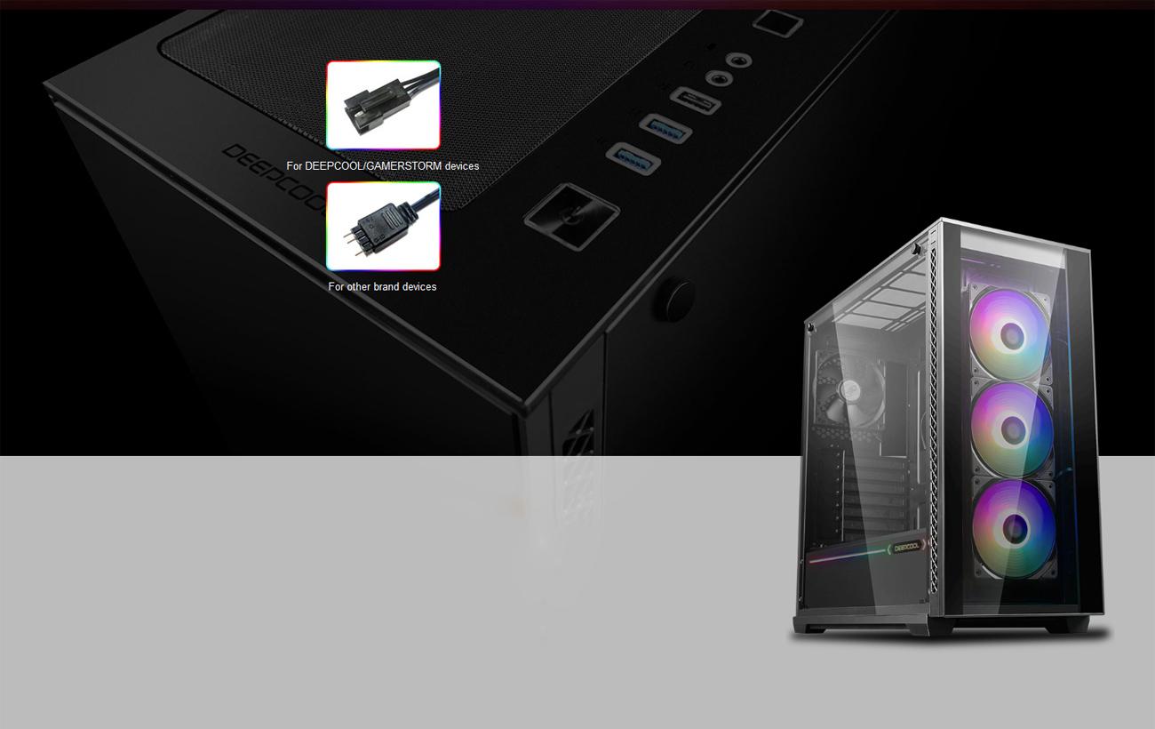 Vỏ MATREXX 70 quay mặt sang phải một chút và hình ảnh phía trên của vỏ với các điểm nóng của tiêu đề RGB cho các thiết bị DEEPCOOL GAMERSTORM và các nhãn hiệu khác