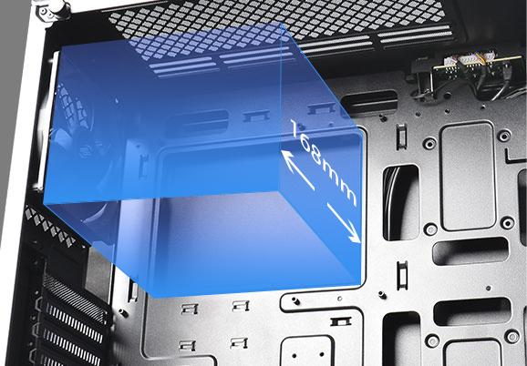 Hỗ trợ chiều cao làm mát CPU 168mm (tối đa)