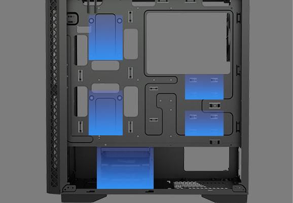 Khe cắm SSD 4 * 2.5 '' và lồng ổ cứng 2 * 3.5 ''