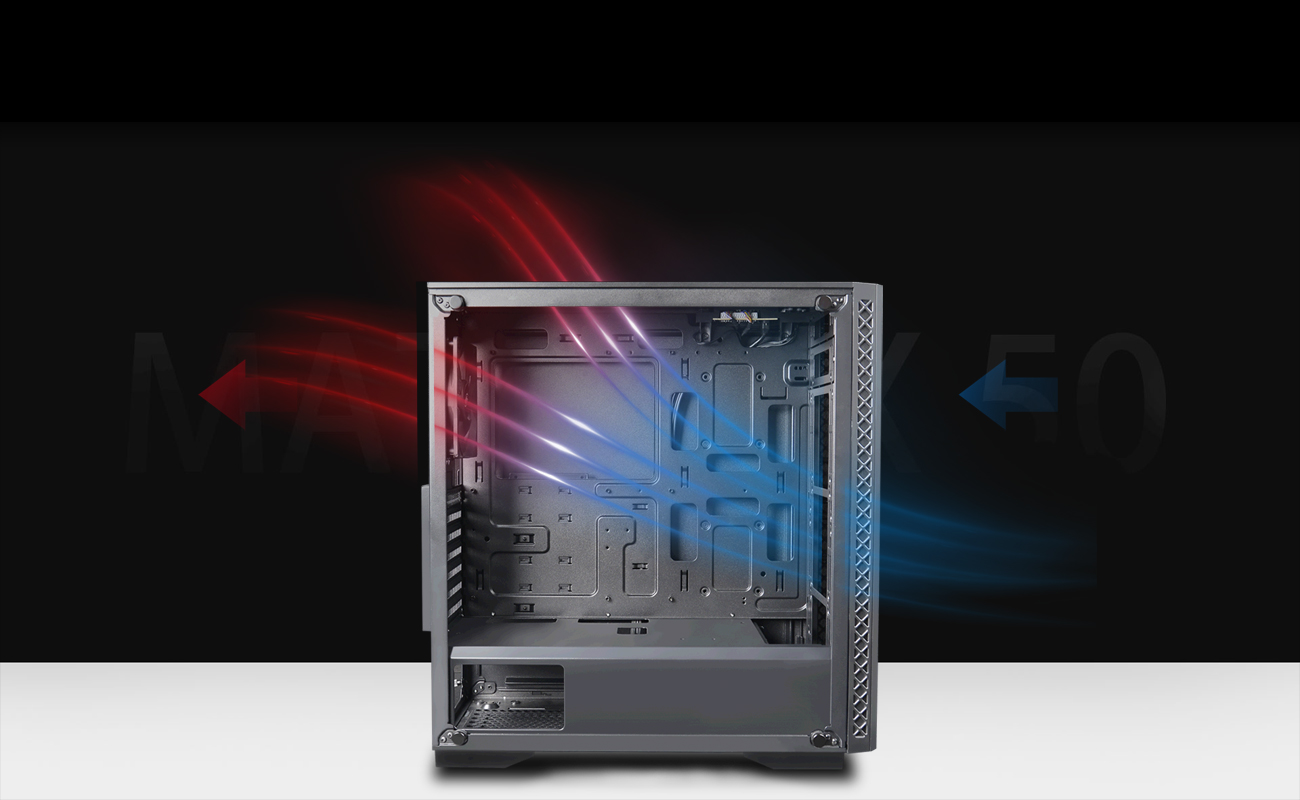 Deepcool Matrexx 50 ADD-RGB 4F Case Facing to the Right with Its Side Panel Removed and Graphics Showing Cool Airflow Going in and Hot Air Going Out of the System to the Left
