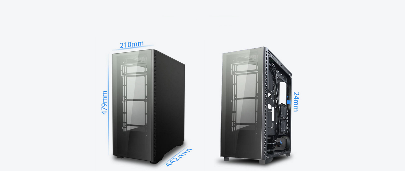 Two MATREXX 50 ADD-RGB 4F Cases Angled to the Left, the One to the Right with Its Side Panel Removed. Each Case Has Blue Text Indicating Dimensions, The Left Case is 210mm length, 479mm height and 442mm depth—The Case with Its SIde Panel Removed Has 24mm of Space for Cables