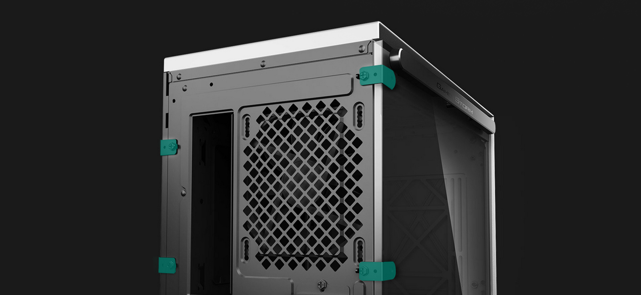 DEEPCOOL GAMERSTORM MACUBE310 WH ATX Mid Tower Case child safety lock close-up