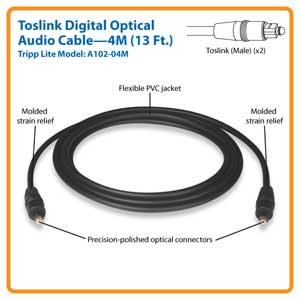 Tripp Lite A102 04m 13ft Toslink Digital Optical Audio 4