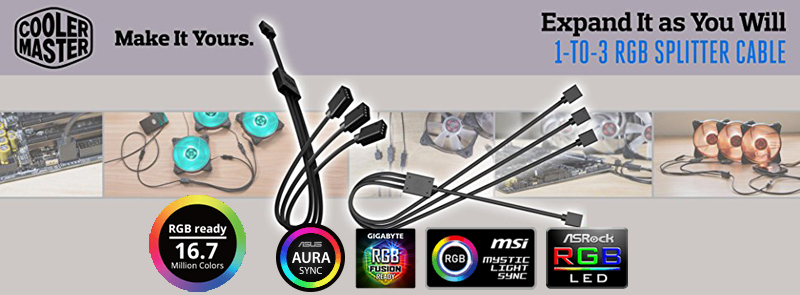 Cooler Master 1-to-3 RGB Splitter Cable for LED Strips, RGB Fans, 22 8