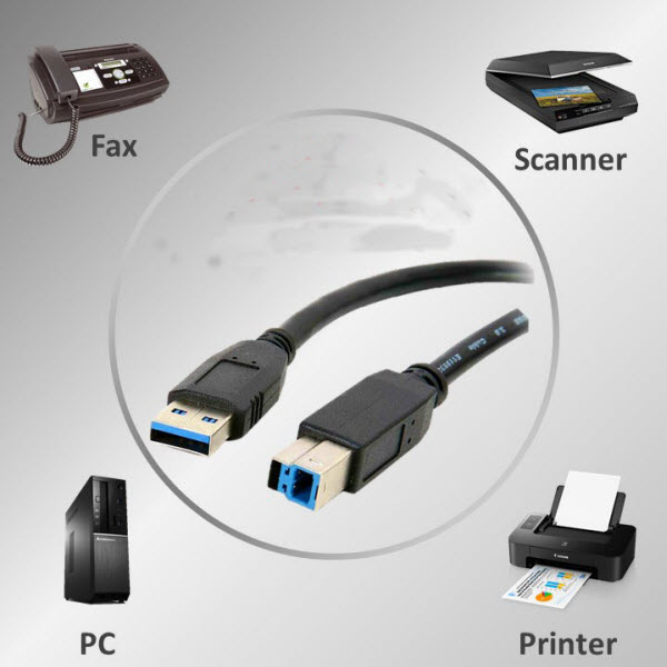 PRINTER CABLE USB 3.0 AM-TO-BM HIGH SPEED SCANNER CORD FOR HP WD DELL FUJITSU D