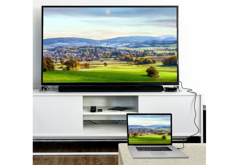 a TV connected to a laptop using the Nippon Labs DP-to-HDMI cable