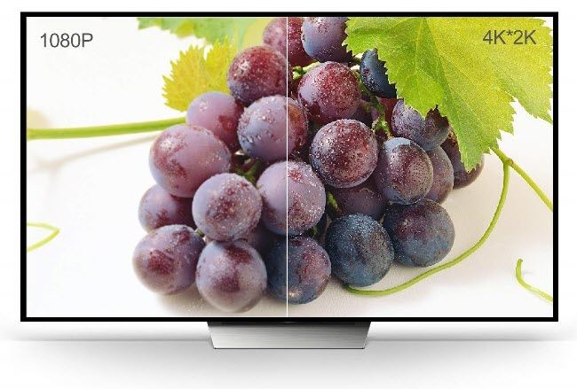 a TV showing split image of a plate of grapes with different resolutions