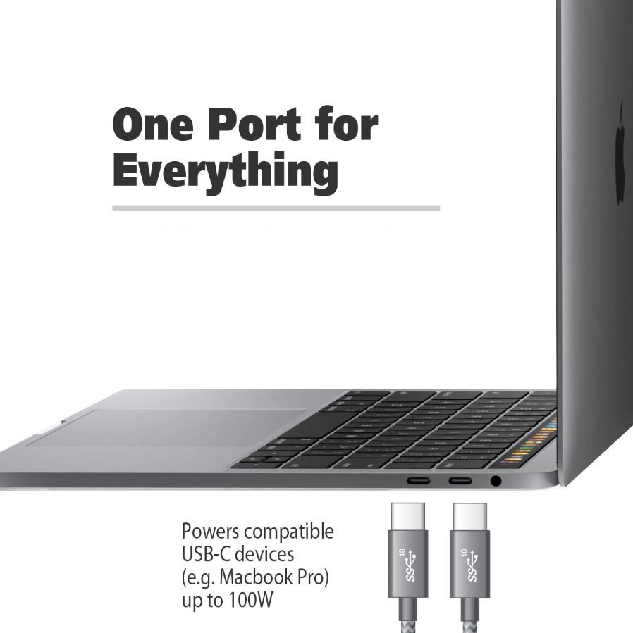 A cable is in front of a Macbook with two USB Type-C ports