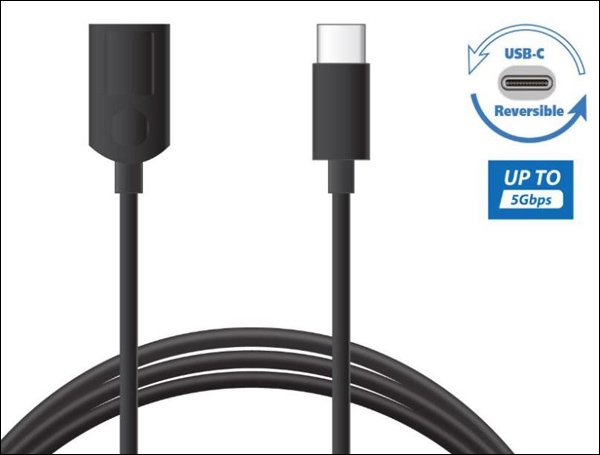 A cable with twe ends is on display next to a USB Reversible icon and a up to 5Gbps icon