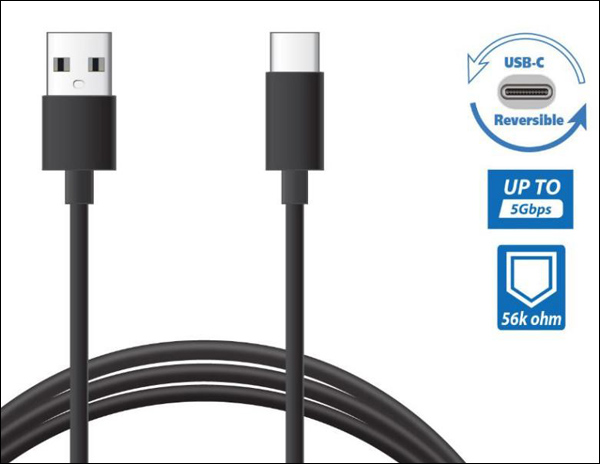 A cable with twe ends is on display next to a USB Reversible icon, a up to 5Gbps icon, and a 56K ohm icon
