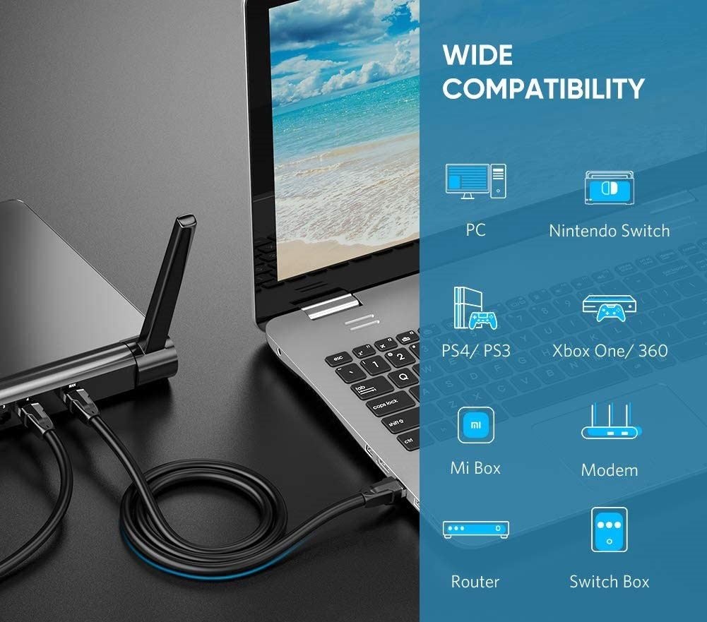 A network cable is used to connect a laptop to a router. Next to it is a list of all compatible items.