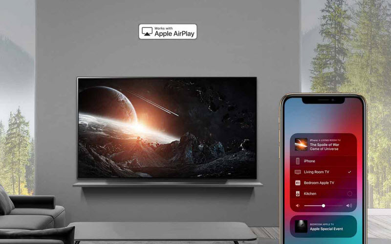LG E9 Glass Smart OLED TV connects to iPhone via AirPlay 2