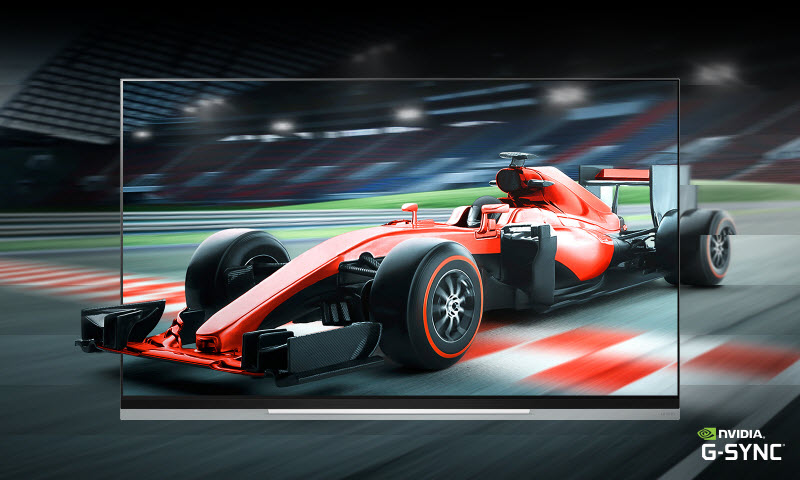 LG E9 Glass Smart OLED TV showing a red F1 racing car