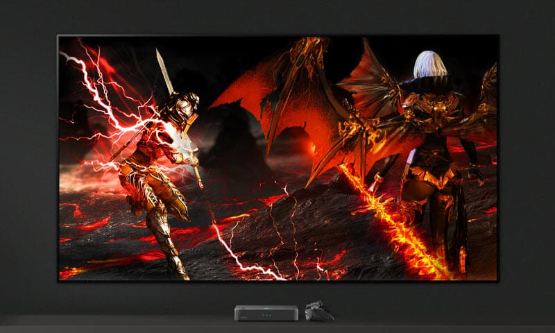 LG E9 Glass Smart OLED TV showing a game combat scene