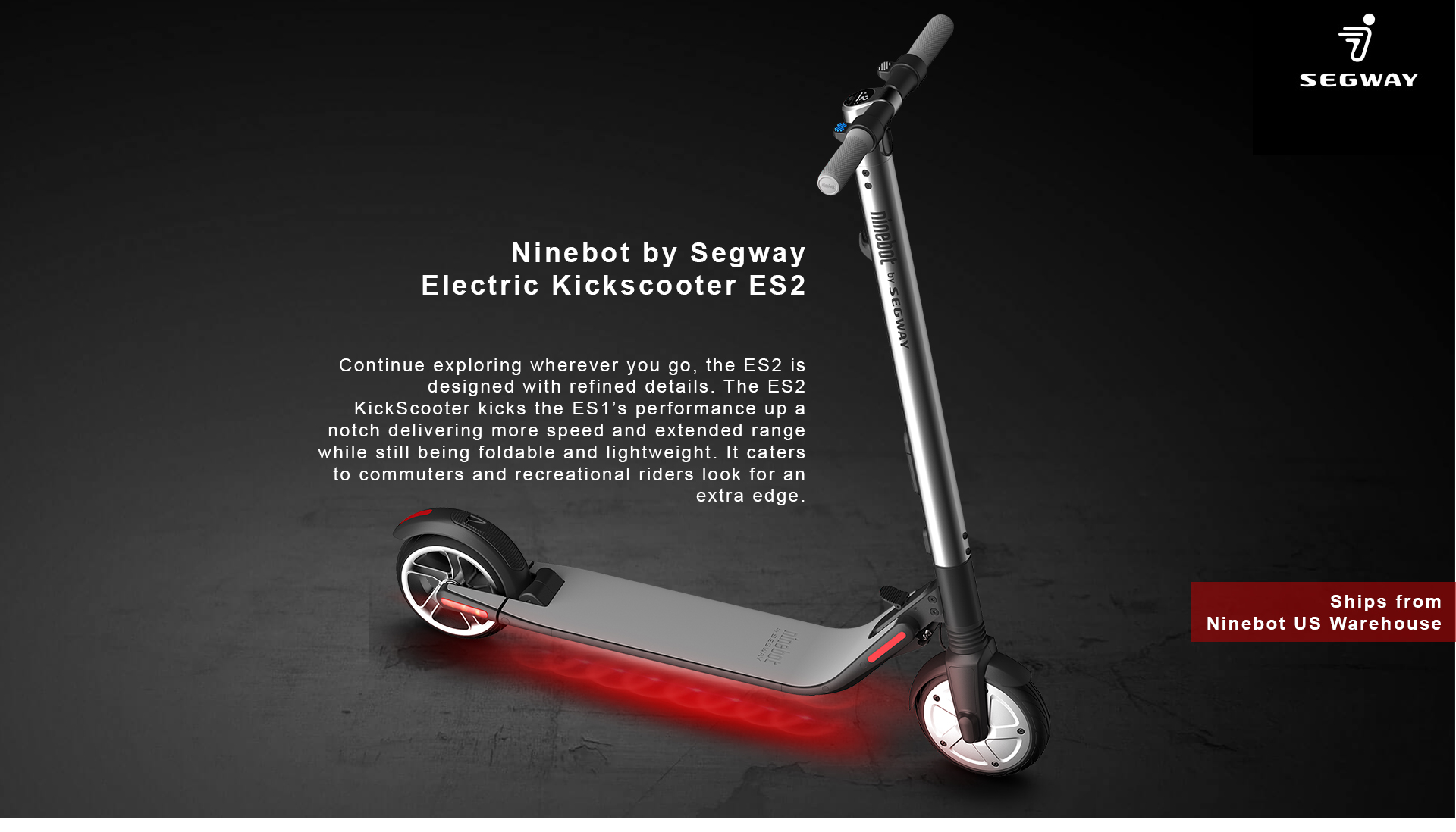 Segway ES2 Kick Scooter - High Performance Foldable Electric Scooter, 15 5  mph, 15 5 mile range - Newegg com