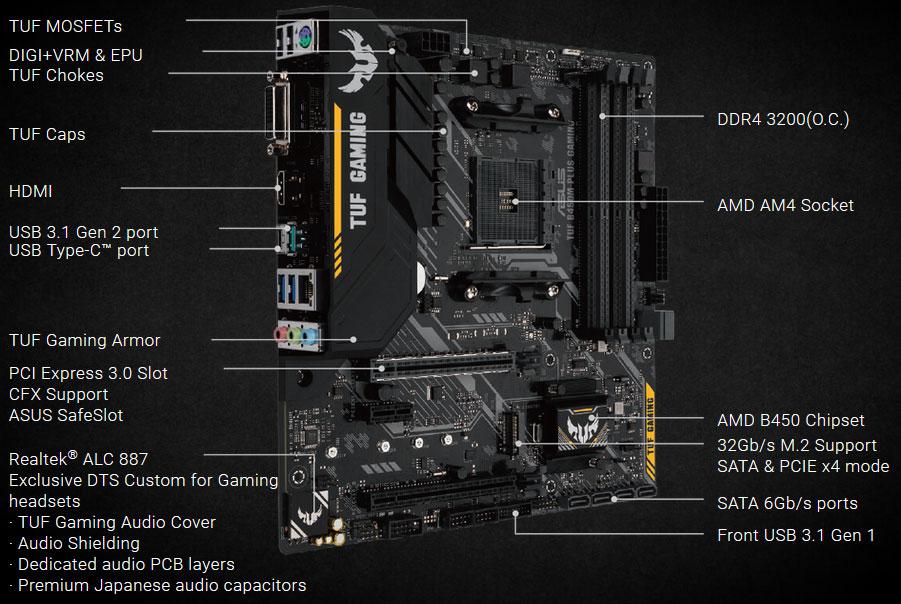 ASUS TUF B450M-PLUS GAMING AM4 AMD B450 SATA 6Gb/s Micro ATX AMD Motherboard