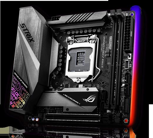 عرض الزاوية الأمامية اليمنى للوحة الأم ASUS ROG Strix Z390-I Gaming ، مع إضاءة RGB LED