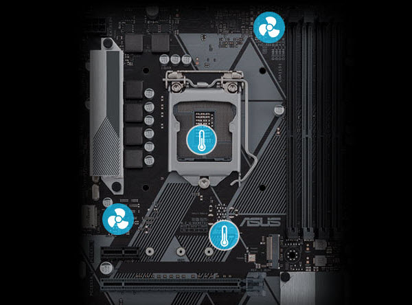 a diagram of the motherboard's sensors and fan headers