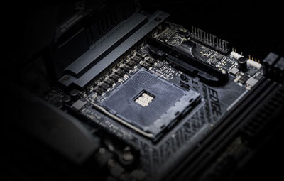 Closeup of CPU socket and adjacent power delivery components