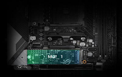 Upper half of the motherboard, with M.2 slot highlighted
