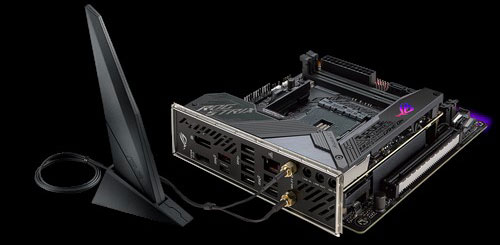 Top rear angle view of the Asus ROG Strix X570-I Gaming motherboard, with Wi-Fi antenna connected