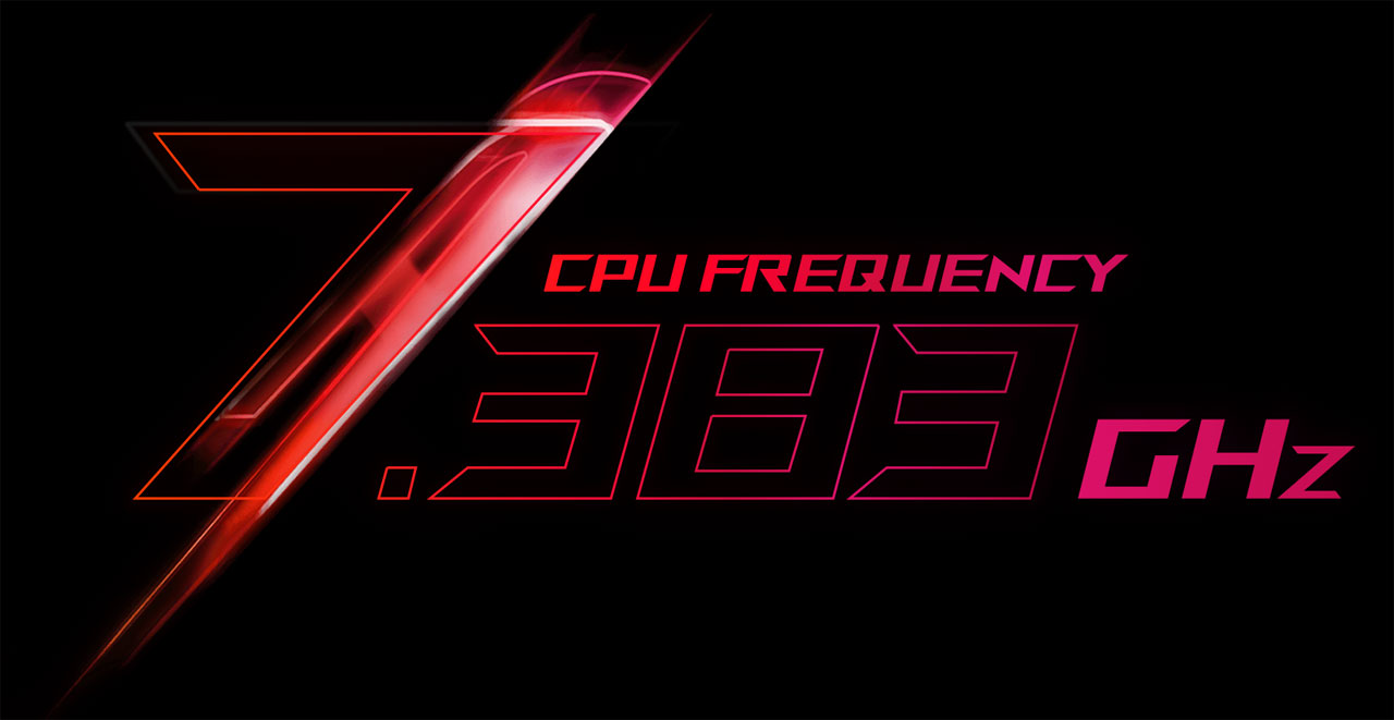 "Stylized texts reading as ""CPU frequency 7.383 GHz"""