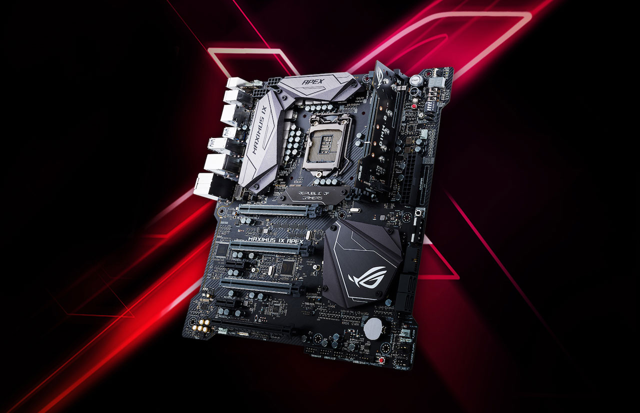 "Top angle view of this motherboard in standing position, with a stylized letter ""X"" in the back ground"