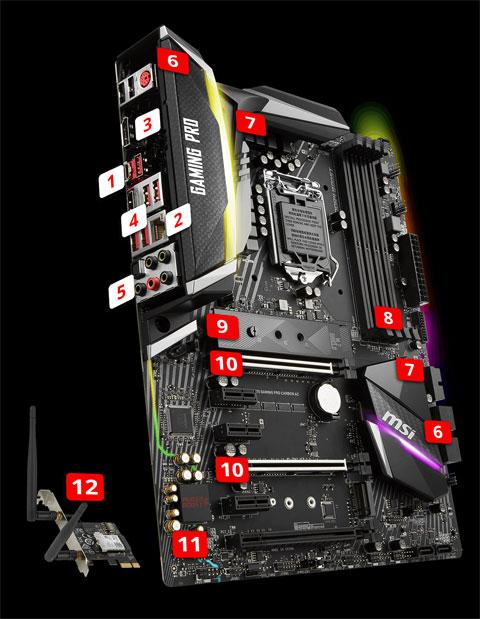 MSI Z370 GAMING PRO CARBON AC LGA 1151 (300 Series) ATX Intel Motherboard -  Newegg com