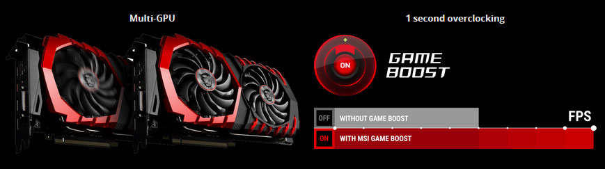 Two MSI Graphics Cards, GAME BOOST 1 second overclocking, providing more FPS