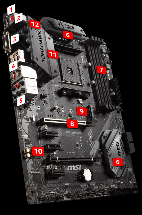MSI B450 GAMING PRO CARBON AC Motherboard Standing Up, Angled to the Right with 14 Marked Points of Interest