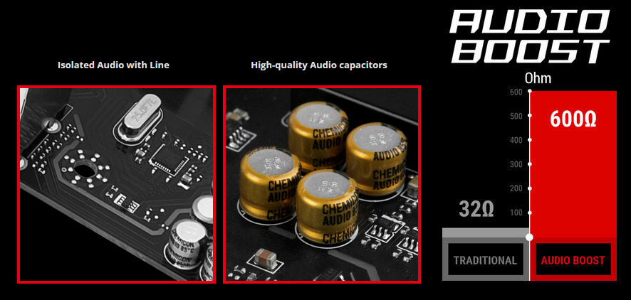 AUDIO BOOST Logo Next to Images of Isolated Audio with Line, High-Quality Audio Capacitors and 600 Ohms versus 32 Ohms