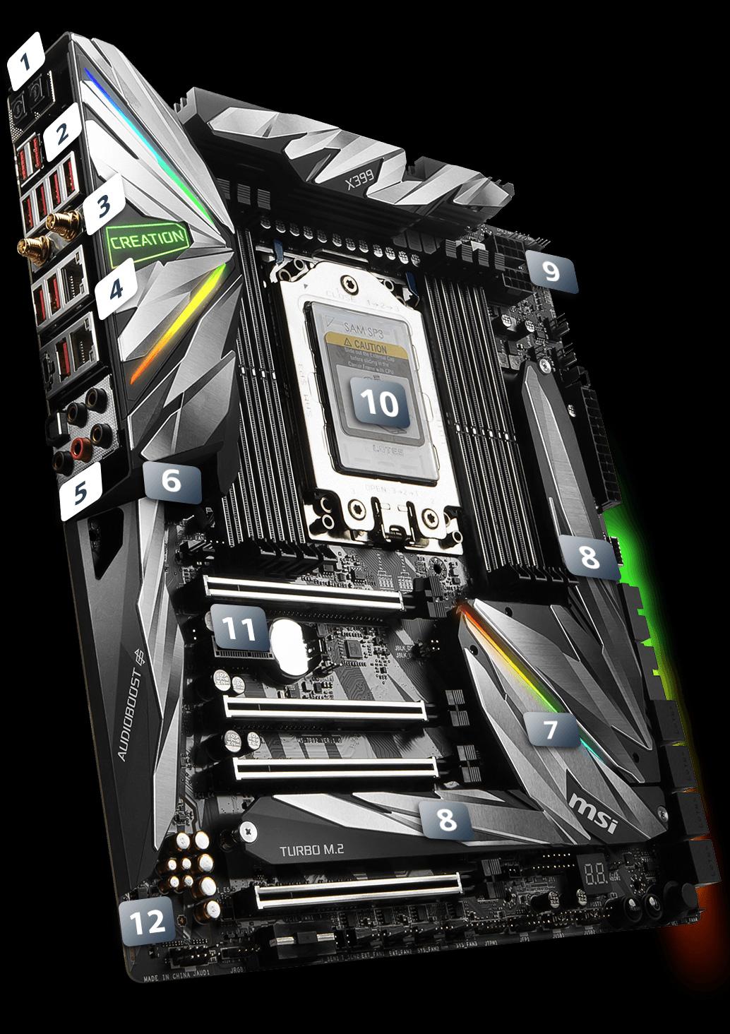 Amd Amplified Muscle Definition: MSI MEG X399 CREATION STR4 AMD X399 SATA 6Gb/s USB 3.1