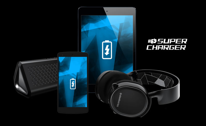 Super Charger Compatible Devices: Bluetooth Speaker, Smartphone, Tablet and SteelSeries Wireless Headset
