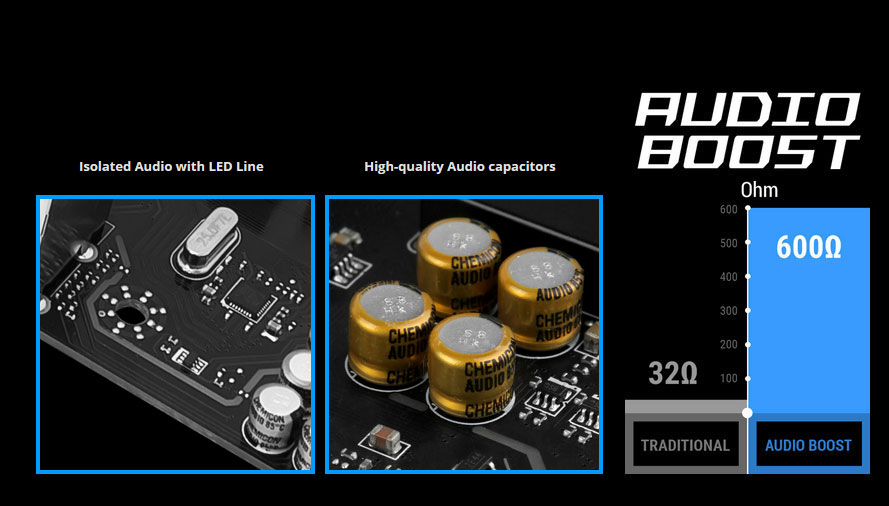 AUDIO BOOST Logo with Images of Isolated Audio with LED Line, High-Quality Audio Capacitors and 600 Ohms versus the Traditional 32 Ohms