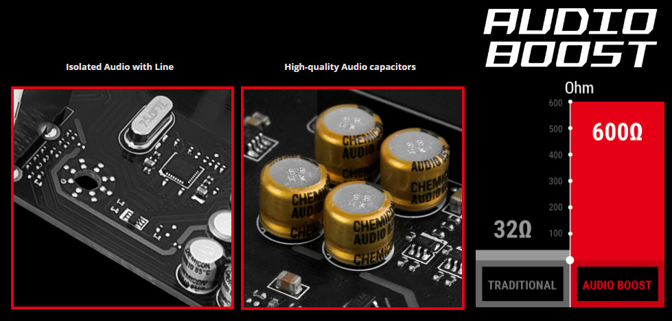 detail of isolated Audio line and high-quality audio capacitors