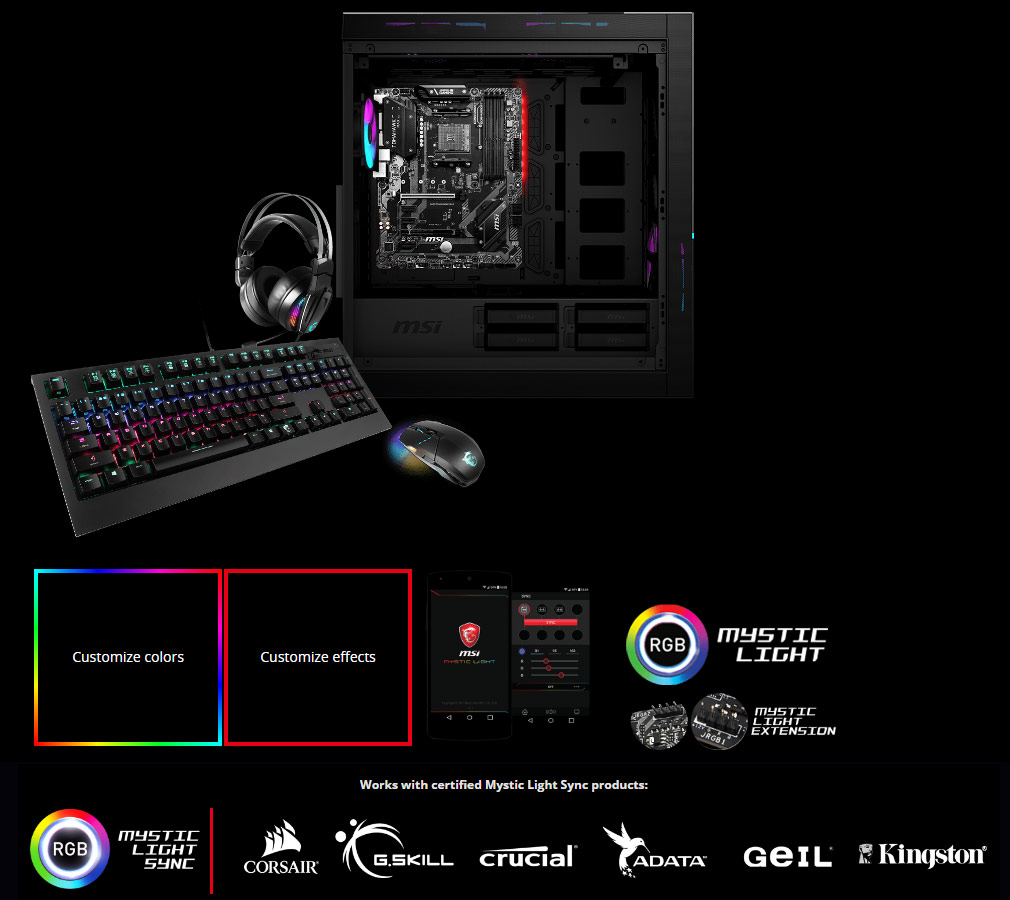 inside of the case, RGB icon, corsair logo, G.skill logo, Crucial logo, adata logo, geil logo, kingston logo
