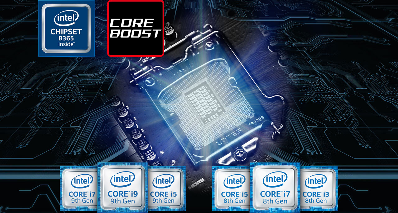 The highlighted CPU socket on a motherboard with logos of 8th and 9th generation Intel Core i3/i5/i7 processors below it, and with B365 chipset logo and Core Boost logo above it