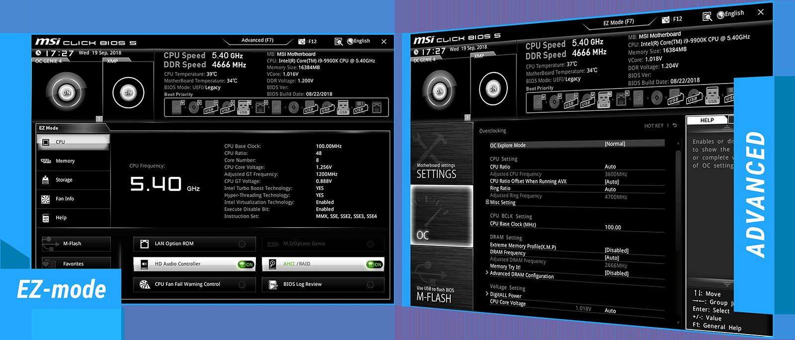 screenshot of EZ-mode and advanced
