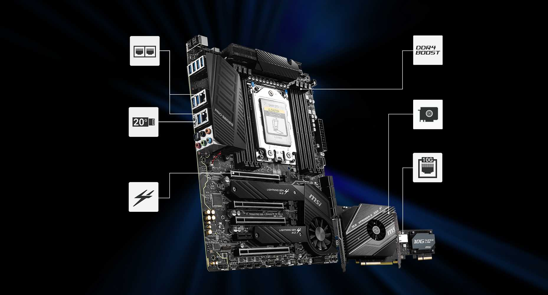TRX40 PRO motherboard and a video card