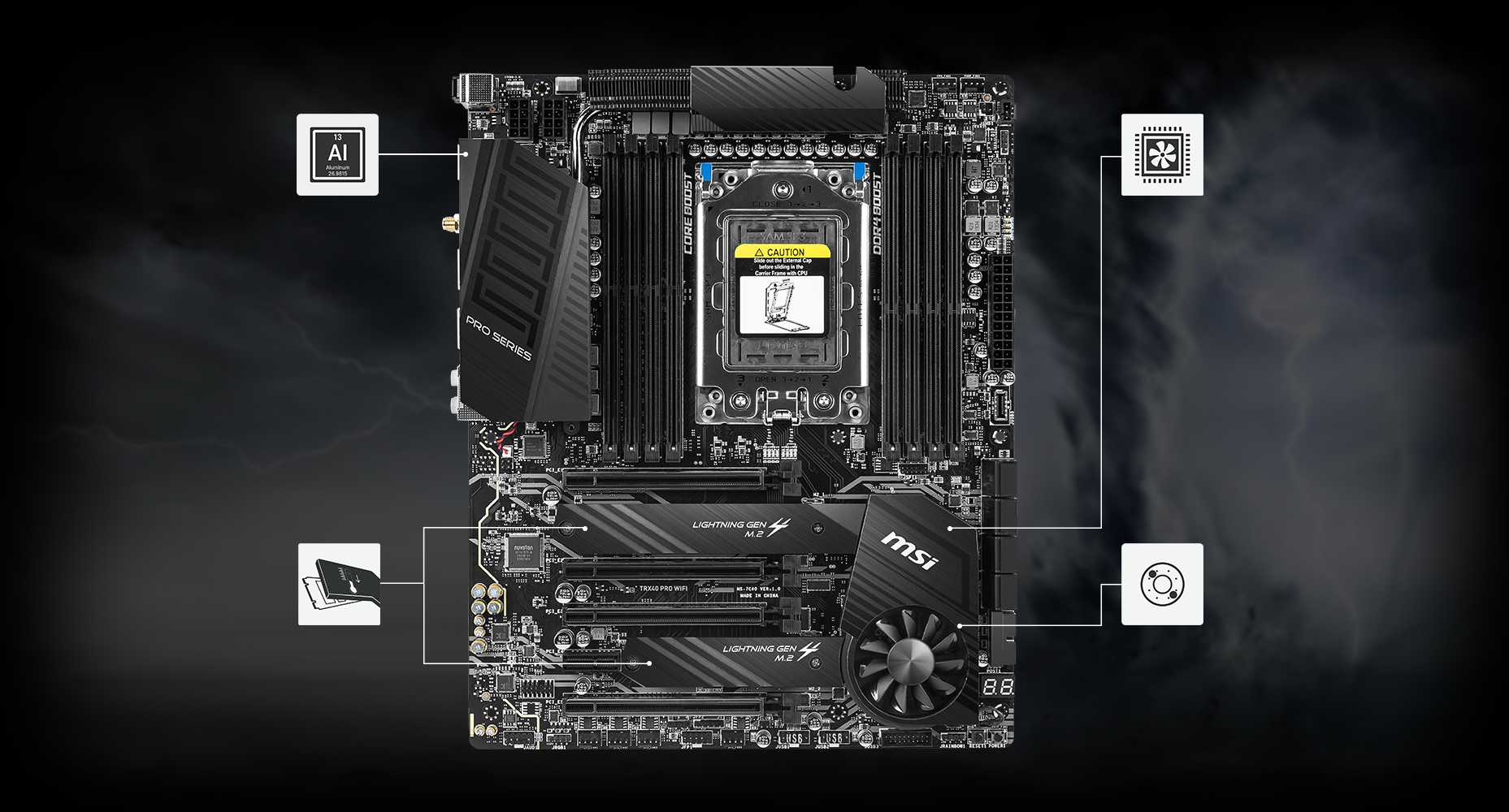 TRX40 PRO wifimotherboard and a video card