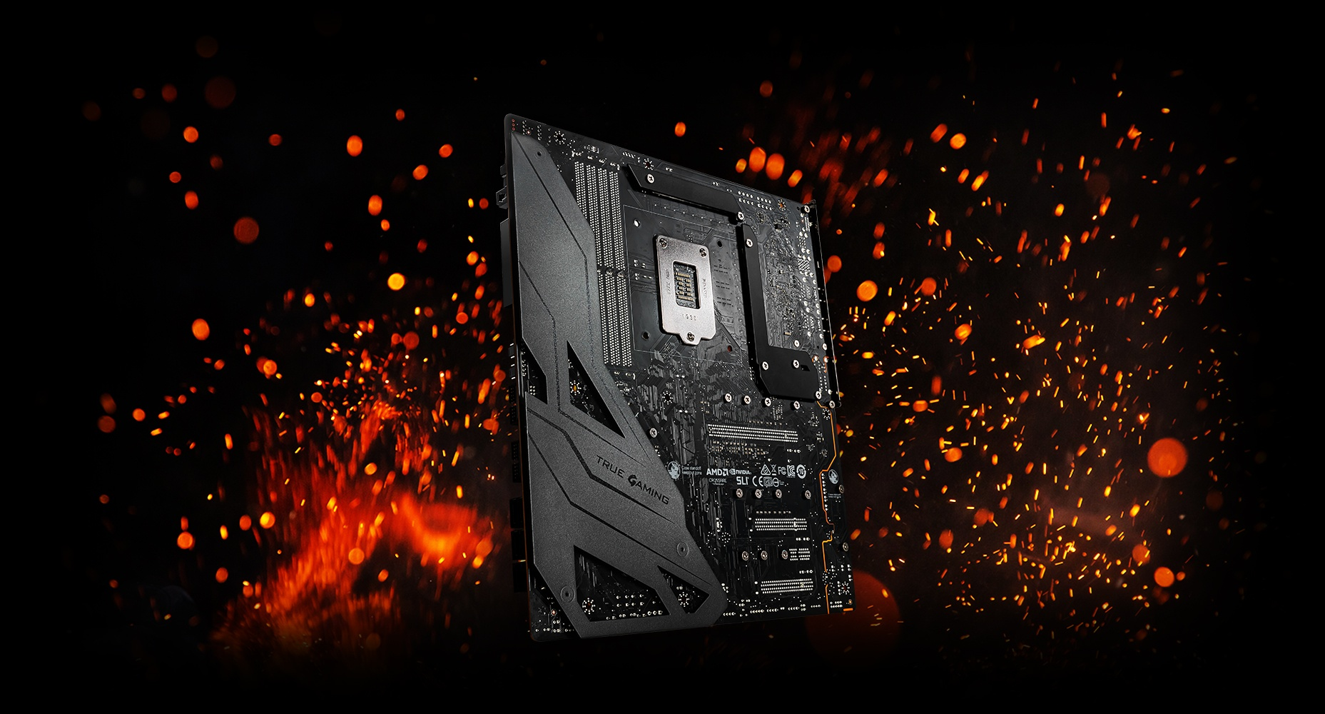 motherboard in a spark background