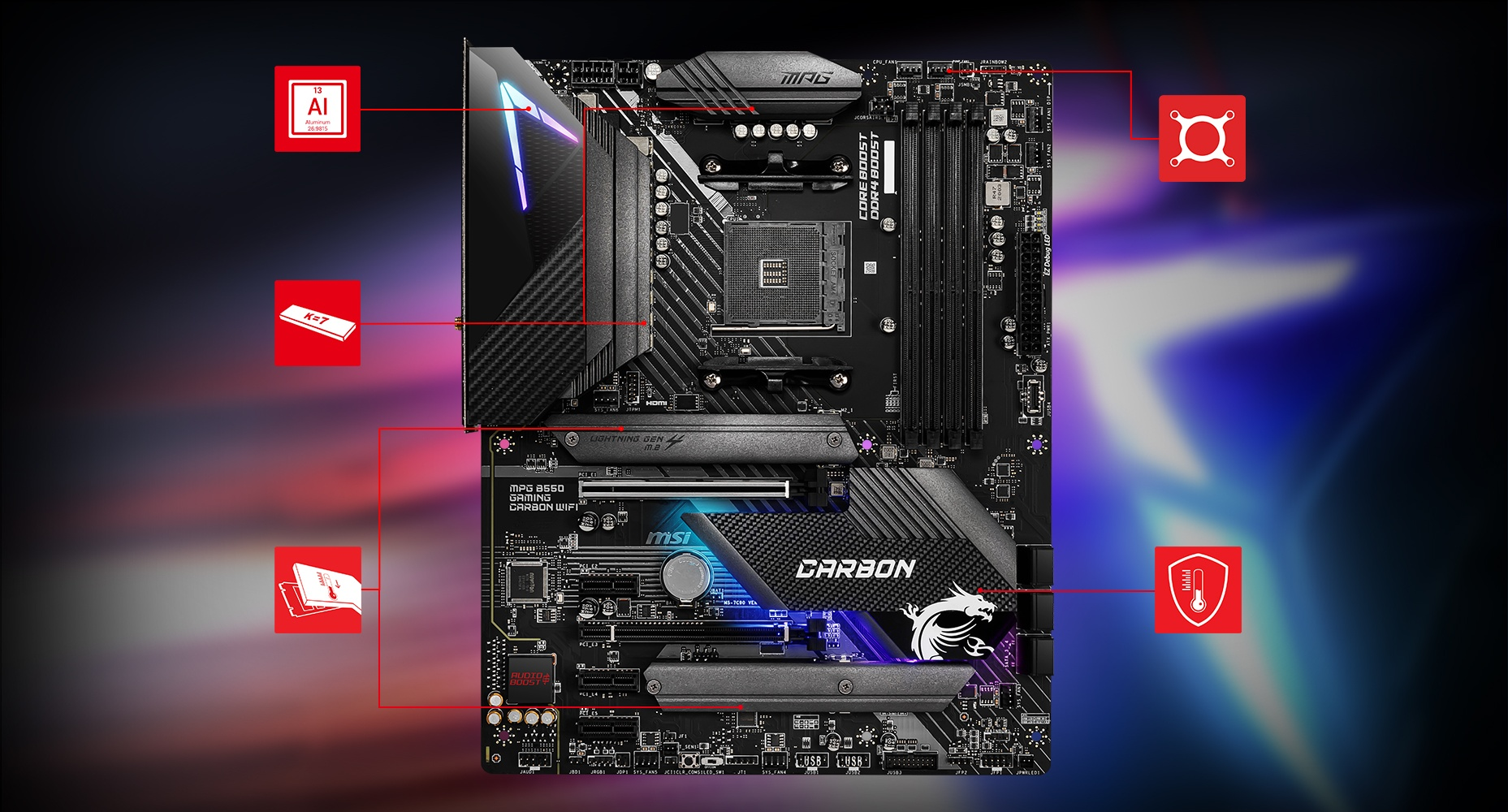 MPG B550 GAMING CARBON WIFI motherboard