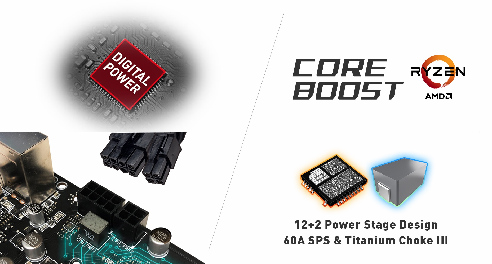 digital power icon, coreboost logo, port of motherboard and 12+2 power stage design