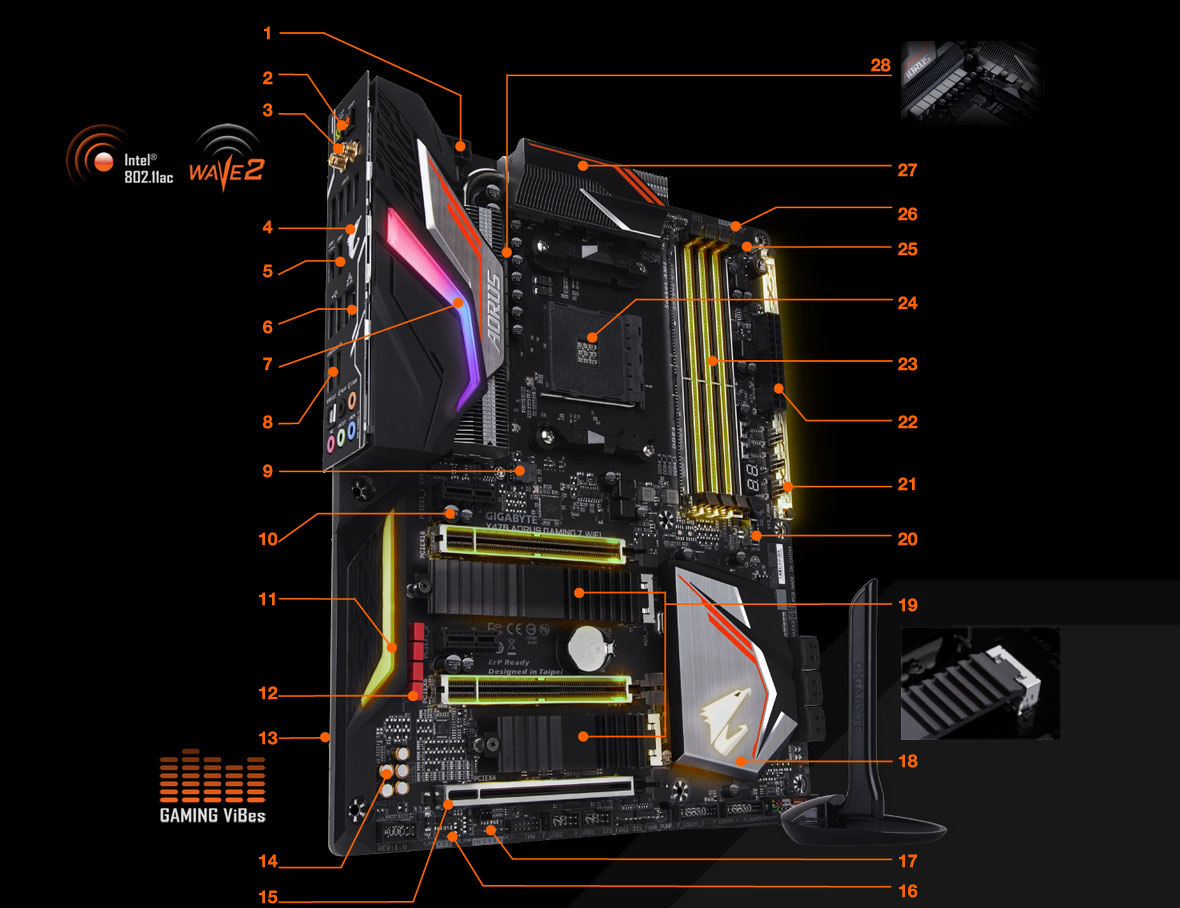 Gigabyte X470 Aorus Gaming 7 Wifi Am4 Amd Sata 6gb S Usb 31 32 Watt Stereo Amplifier Circuit Pictures To Pin On Pinterest 8 4 Solid Cpu Power Connector