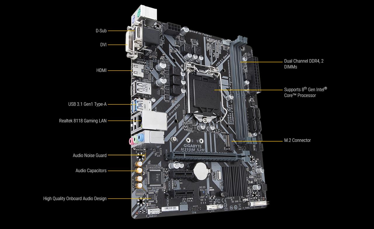 GIGABYTE H310M S2H LGA 1151 (300 Series) Micro ATX Intel Motherboard -  Newegg com