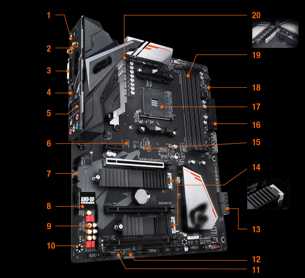 GIGABYTE B450 AORUS PRO WIFI (rev  1 0) AM4 ATX AMD Motherboard - Newegg com