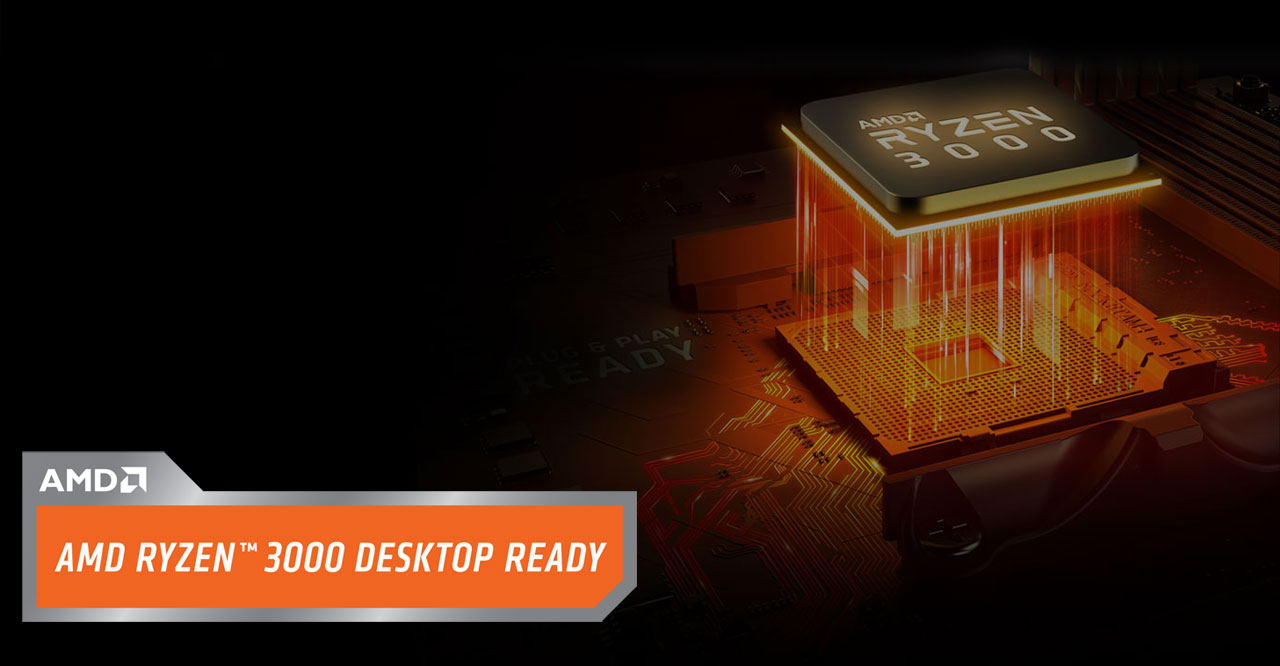 "At right is an AMD Ryzen 3000 processor floating over a motherboard socket. At bottom left is a box with texts reading as ""AMD Ryzen 3000 Desktop Ready"""